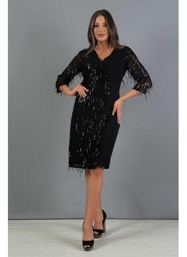 Carmen Saçaklı Payet Dekolteli Kısa Abiye Elbise Siyah